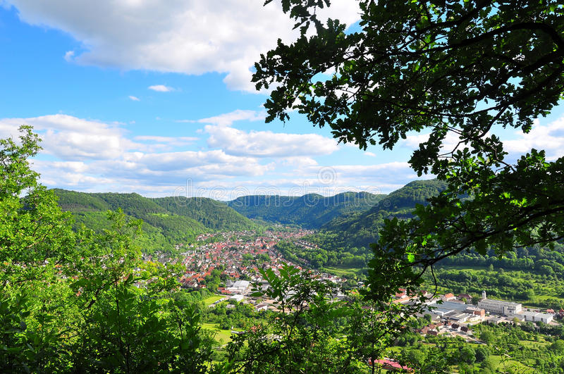 Swabian Alb view. A view of the swabian alb from Pfullingen, Baden-Wuerttember, Germany stock image