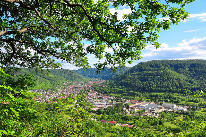 Swabian Alb view. A view of the swabian alb from Pfullingen, Baden-Wuerttember, Germany stock photography