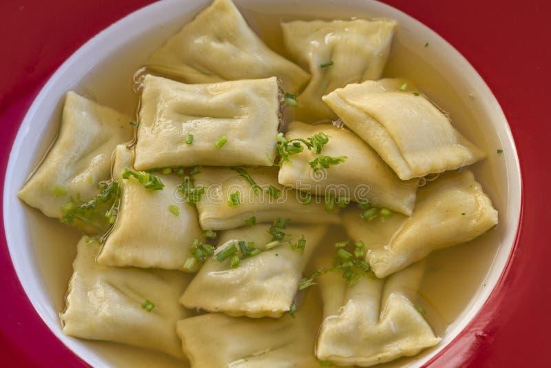 Swabian specialty. Dumplings in broth - A Swabian specialty stock photos