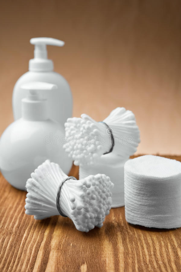 Swabs and pads with bottles stock images