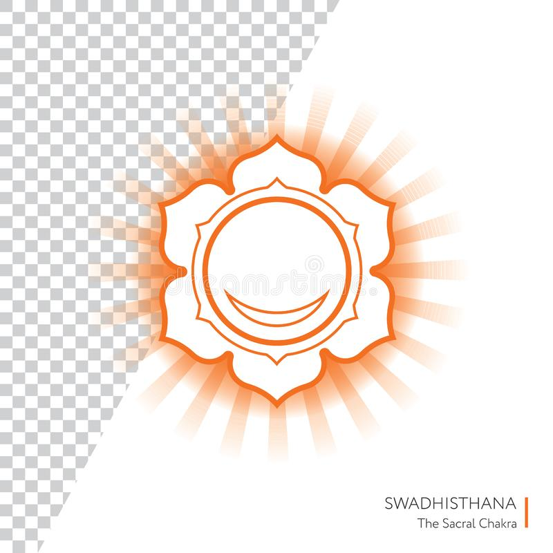 Swadhisthana. Chakra isolated multicolored icon - for yoga studio, banner, poster. Editable concept. royalty free illustration