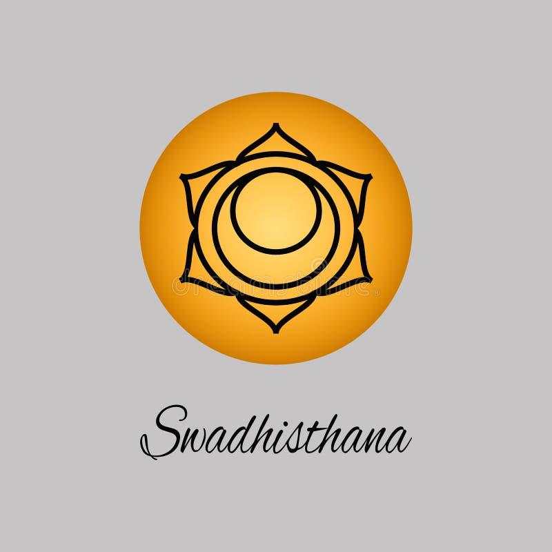 Swadhisthana.Sacral Chakra. The symbol of the second human chakra. Vector illustration. Element human energy system. Yoga,meditation,reiki and buddhism color royalty free illustration