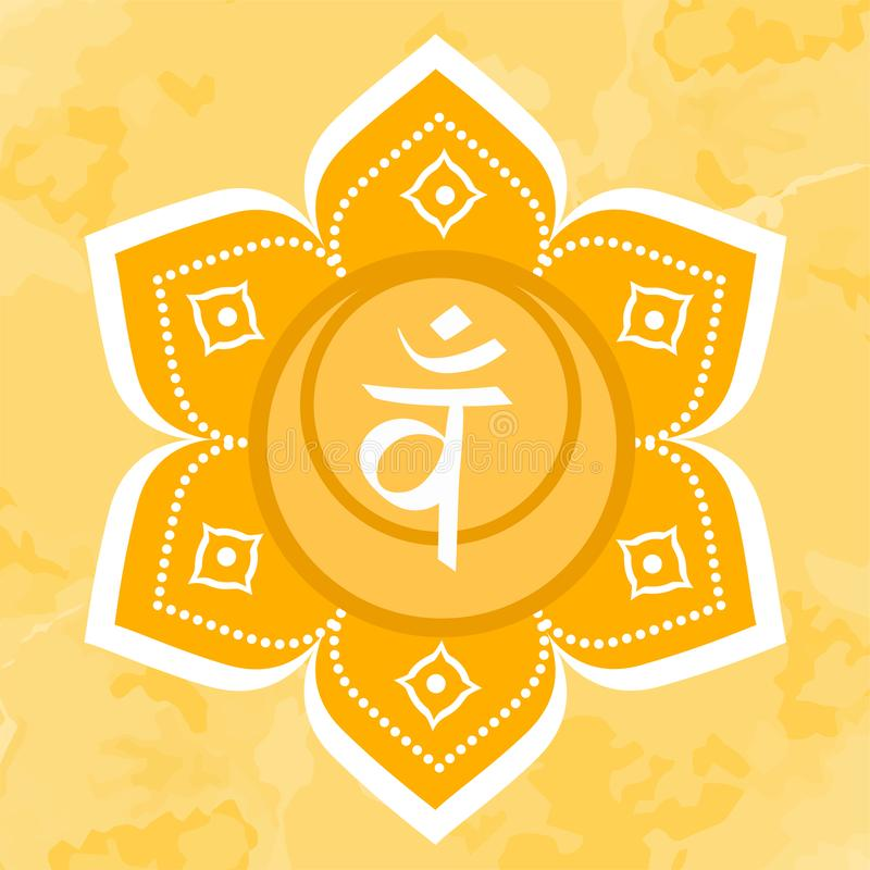 Swadhisthana symbol den andra sacral chakraen Orange cirkel för vektor Meditationtecken stock illustrationer