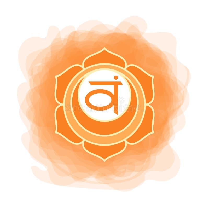Swadhisthana symbol den andra sacral chakraen Orange rökig cirkel för vektor Linje symbol Meditationtecken royaltyfri illustrationer