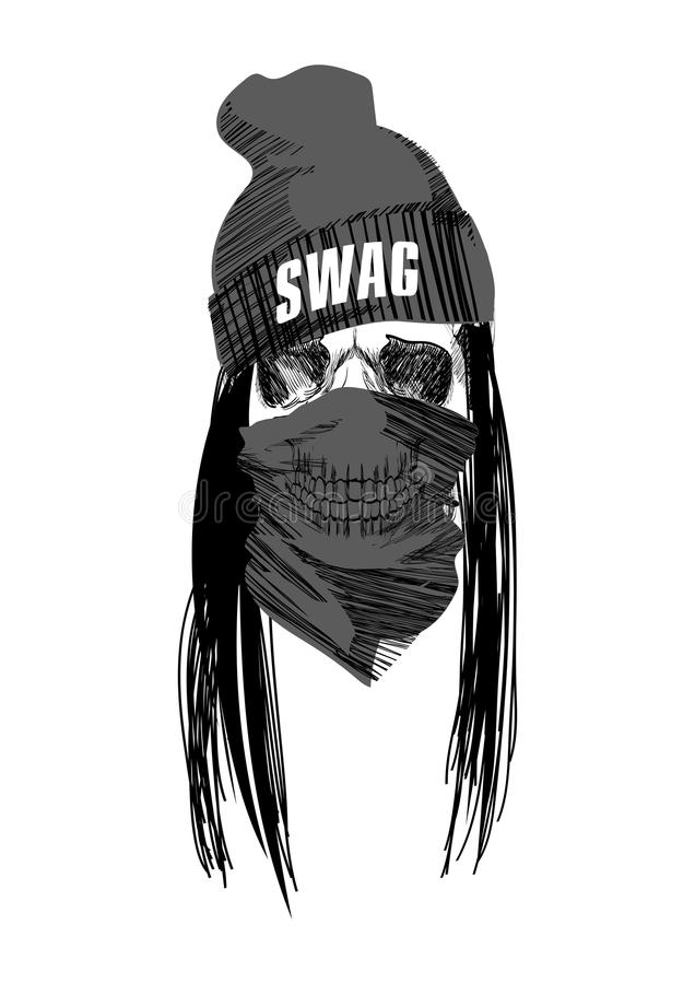 Swag Music Girl. Pretty Young Urban Rap Girl. Stock Vector