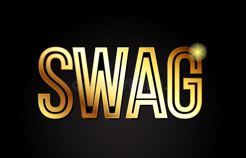 Swag word text typography gold golden design logo icon. Swag word typography design in gold or golden color suitable for logo, banner or text design vector illustration