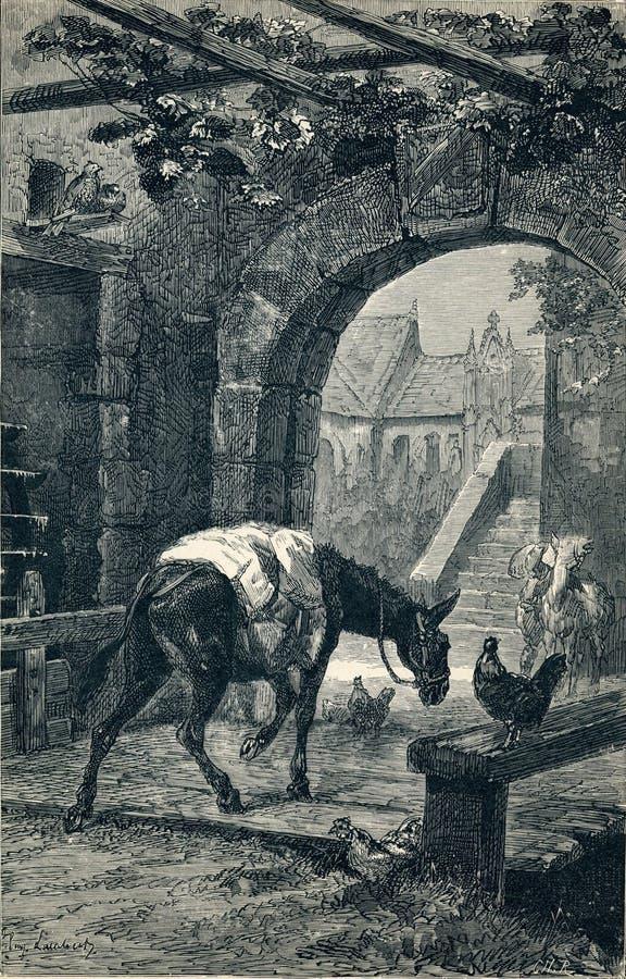 ` Swaggy-Jagdhund ` Wiedergabe vom Buch ` La Fontaine-` s Fabeln ` St Petersburg, Russland, 1901 Zahlen von Eugene Lambert lizenzfreie abbildung