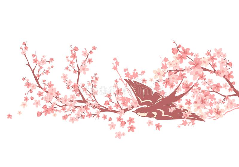 Swallow bird among cherry tree blossom vector design royalty free illustration