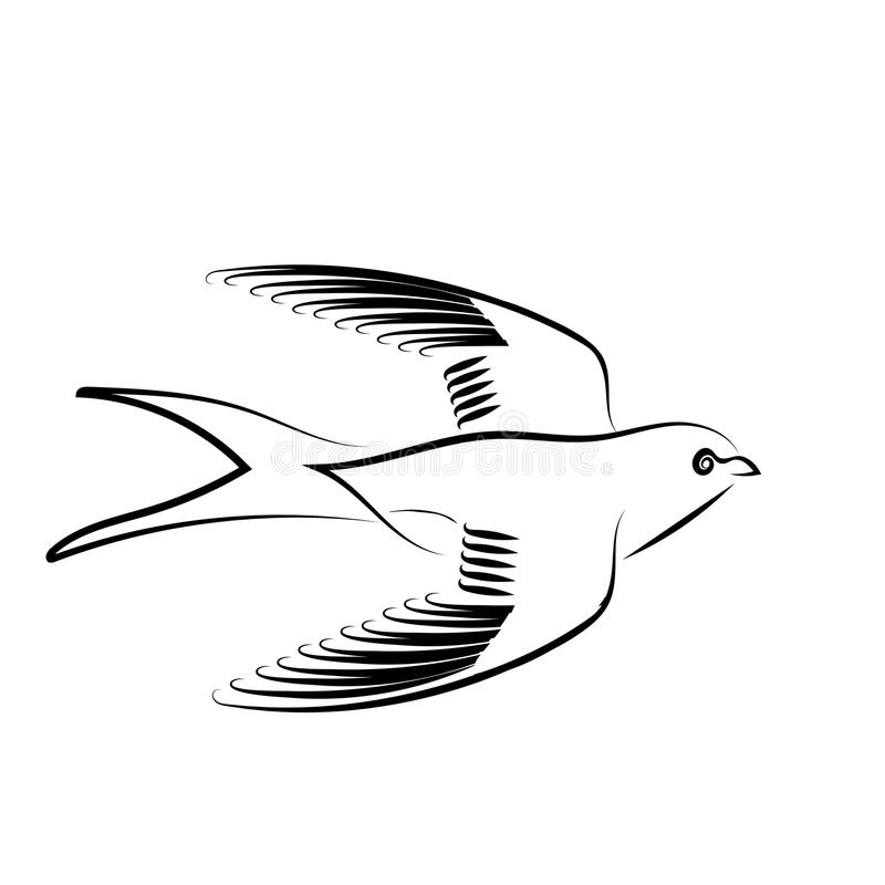 Swallow. Black Silhouette Isolated on White Background royalty free illustration