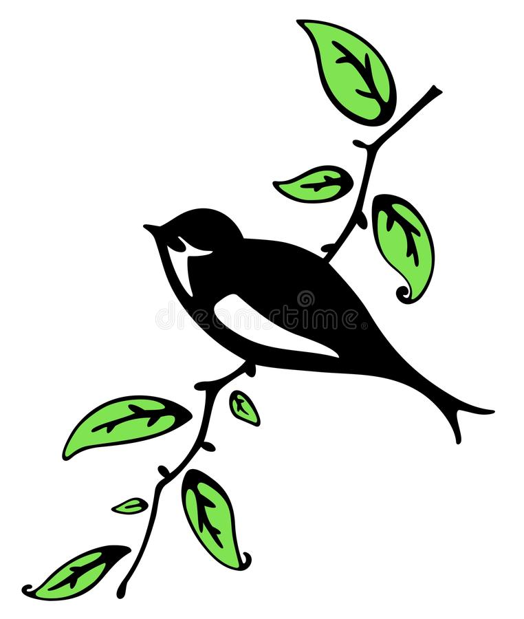 Download Swallow on a branch stock vector. Image of sitting, nature - 14170566