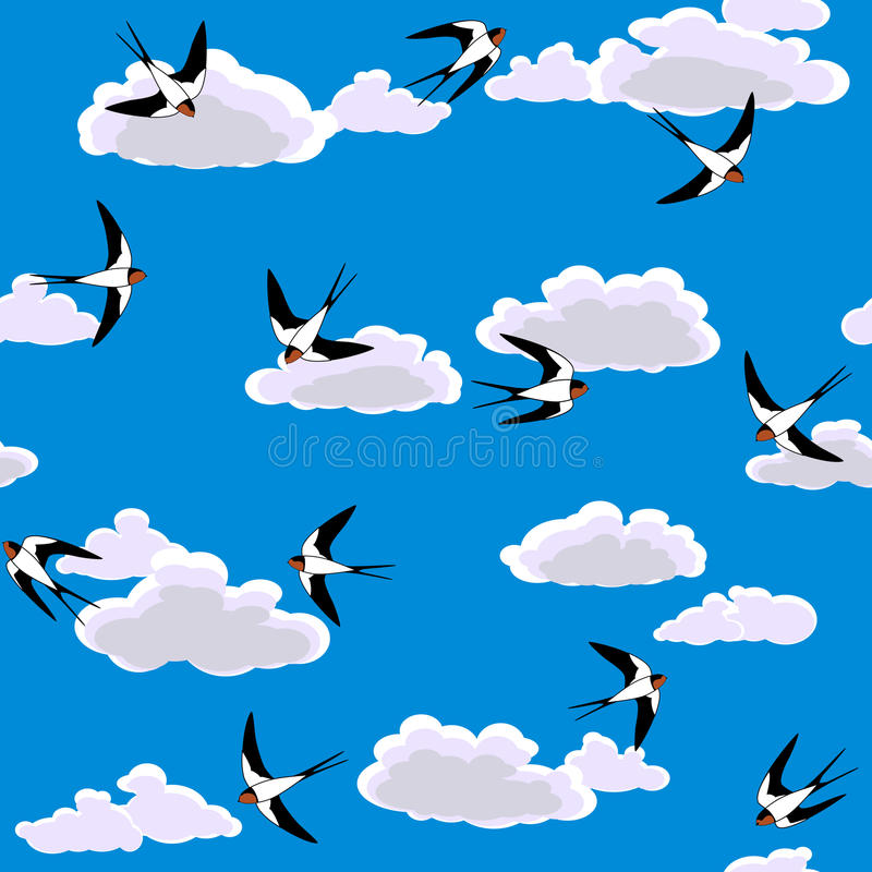 Swallow flying to sky seamless vector illustration