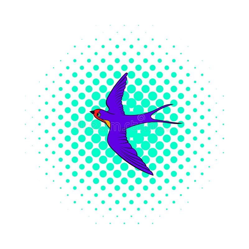 Swallow icon, comics style. Swallow icon in comics style on dotted background. Spring bird symbol stock illustration