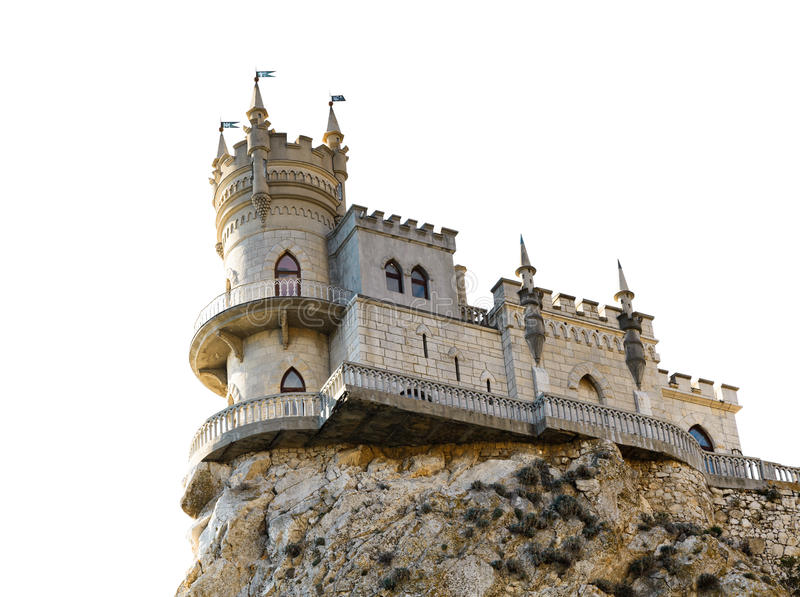 Swallow Nest castle on cliff in Crimea isolated royalty free stock photos
