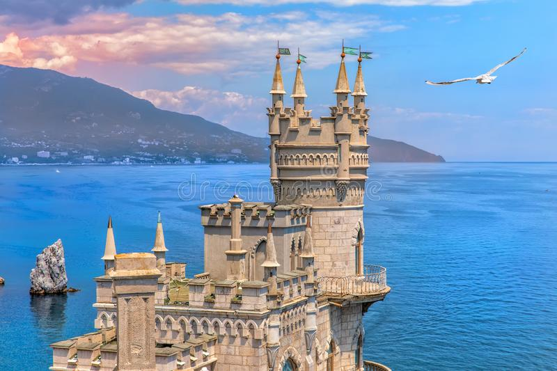 Swallow Nest castle on the rock in the Black sea, Crimea, Ukraine royalty free stock photo