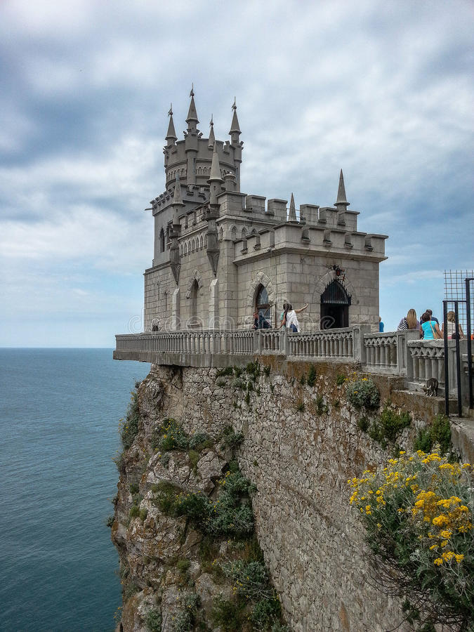 Swallow's nest - an architectural monument of the Crimea Peninsula. Swallow's nest — a monument of architecture and history, located on a steep 40-meter royalty free stock image