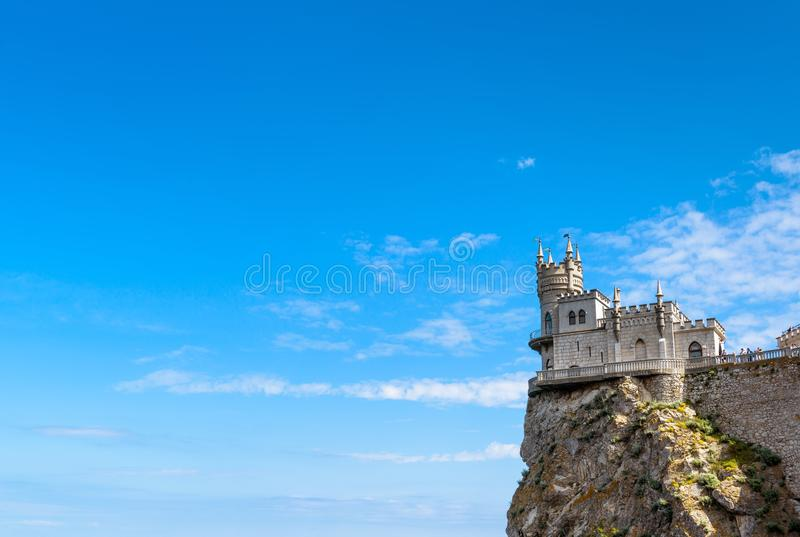 Swallow`s Nest castle on the rock in Crimea. Swallow`s Nest castle on the rock over the Black Sea in Crimea, Russia. This castle is a symbol of Crimea royalty free stock photos