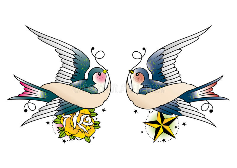 Swallows With Banner Stock Illustration Illustration Of Greeting 53402670