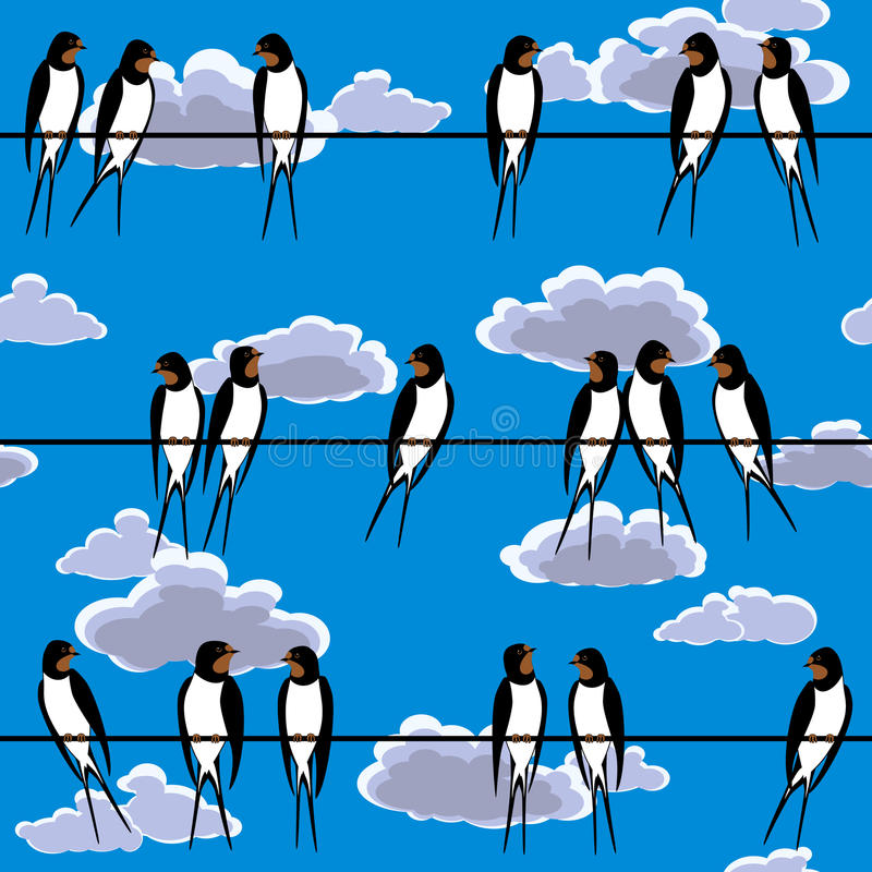 Swallows perched on a wire seamless