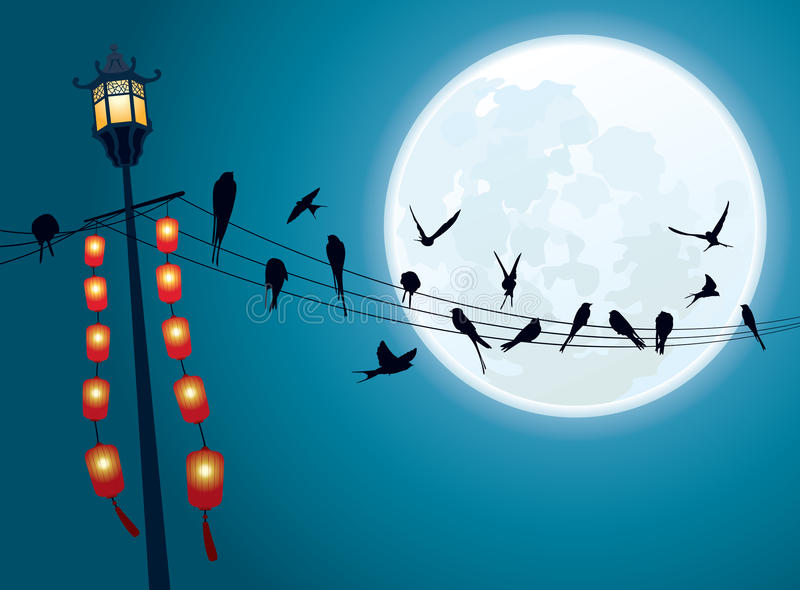 Download Swallows On The String With Full Moon Background Stock Vector - Illustration: 32641548