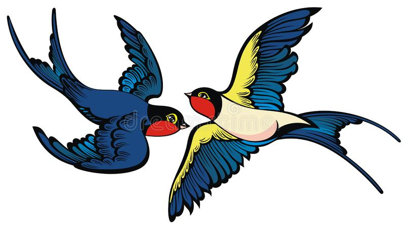 Swallows on white background. Flying swallows in cartoon style royalty free illustration