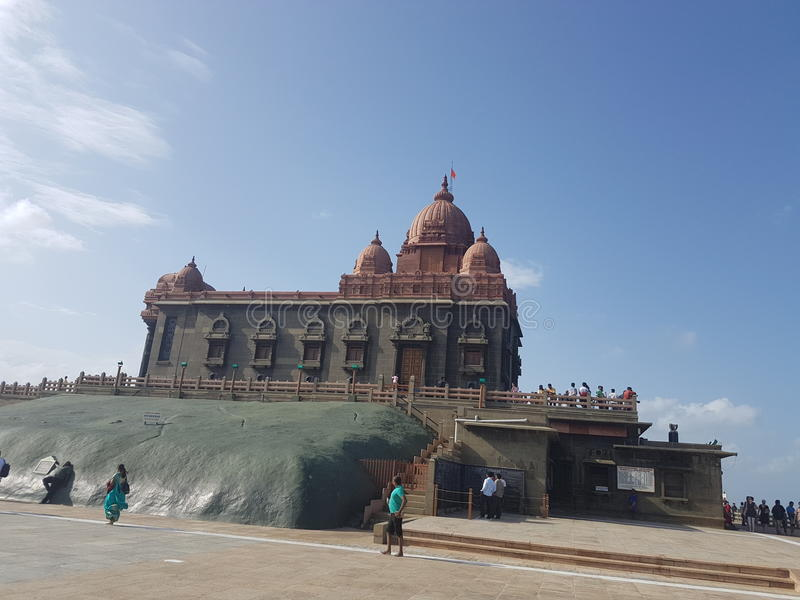 Swamivivekanandatempel i Kanyakumari arkivbilder