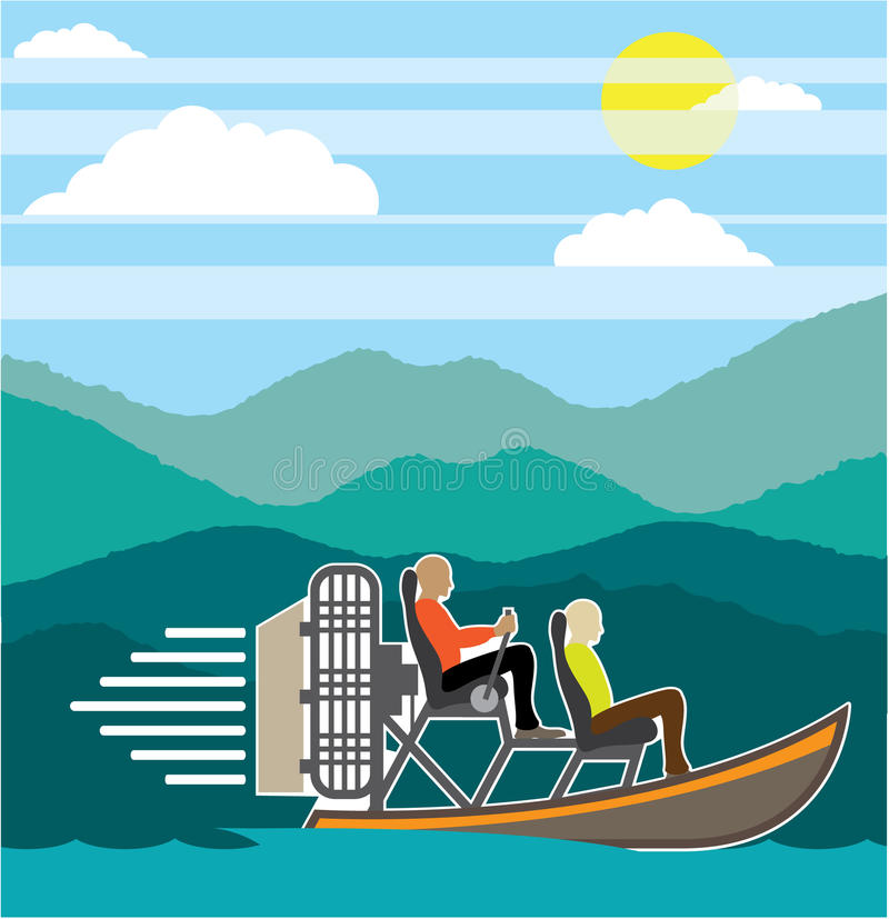 Swamp Boat ride AirBoat stock vector. Image of propeller - 62493843
