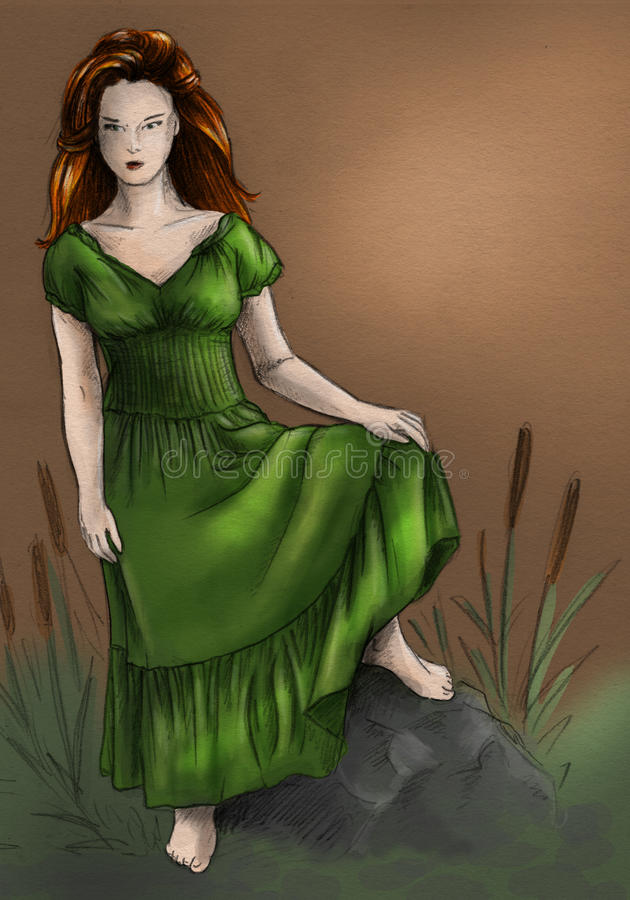 Download Swamp witch in green dress stock illustration. Image of artistic - 16188969