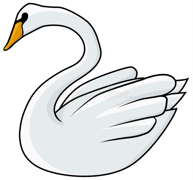 Swan Drawing Colored royalty free illustration