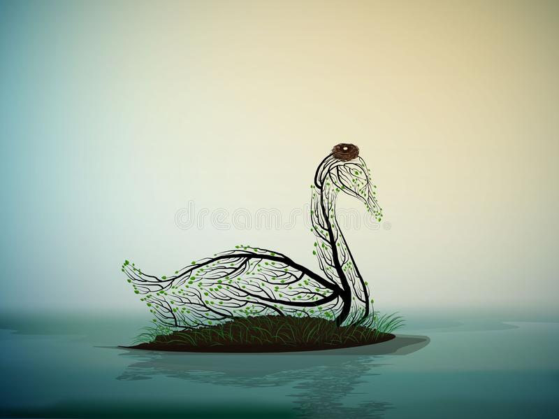 Swan bird look like tree branches with the nest, spring beautiful composition, royalty free illustration