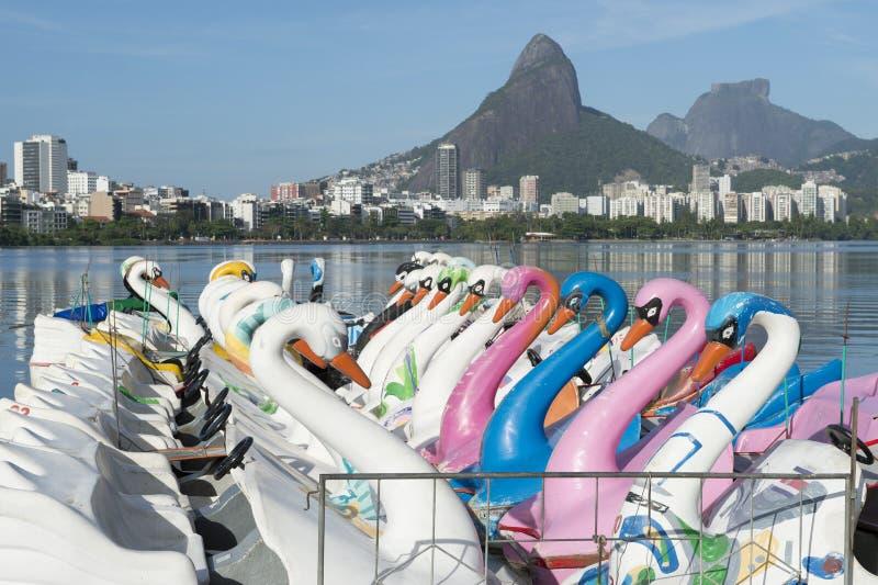 Swan Boats Lagoa Rio de Janeiro Brazil Scenic Skyline stock photos