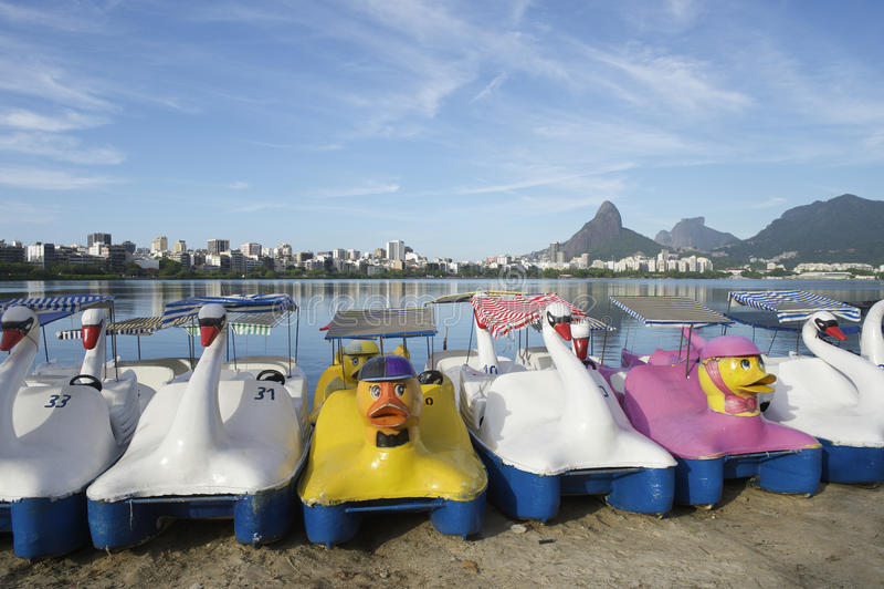 Swan Boats Lagoa Rio de Janeiro Brazil Scenic Skyline stock image