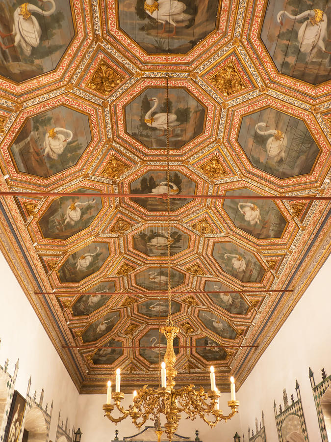 Swan ceiling in the Palácio Nacional de Sintra, in the hills above Lisbon, Portugal. The Sintra National Palace, also called Town Palace is located in the stock photography