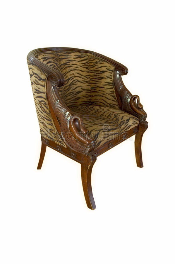 Swan chair. Retro wooden swan chair. Upholstered in a tiger stripe print royalty free stock images