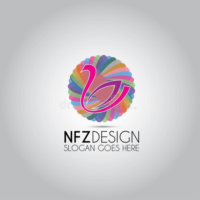 Swan Colored Circular Template Logo vector illustration