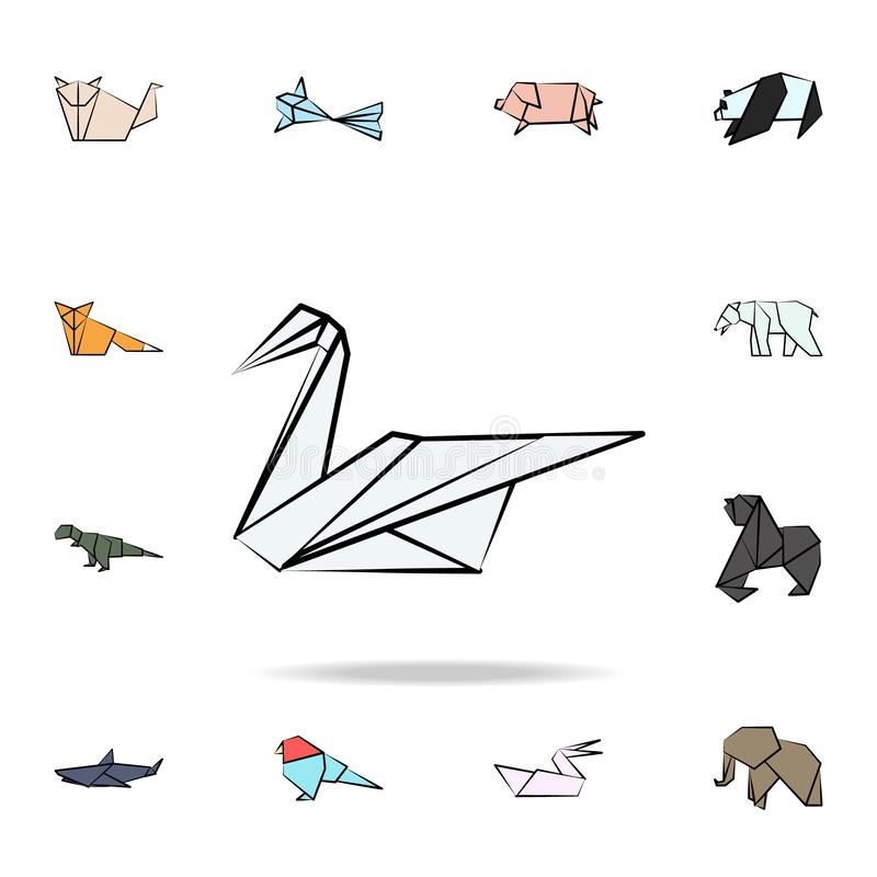 Swan colored origami icon. Detailed set of origami animal in hand drawn style icons. Premium graphic design. One of the collection. Icons for websites, web royalty free illustration