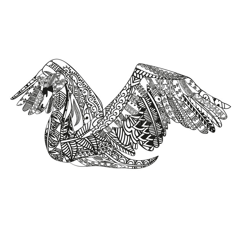 Swan With Ethnic Doodle Pattern  Zentangle Inspired Pattern