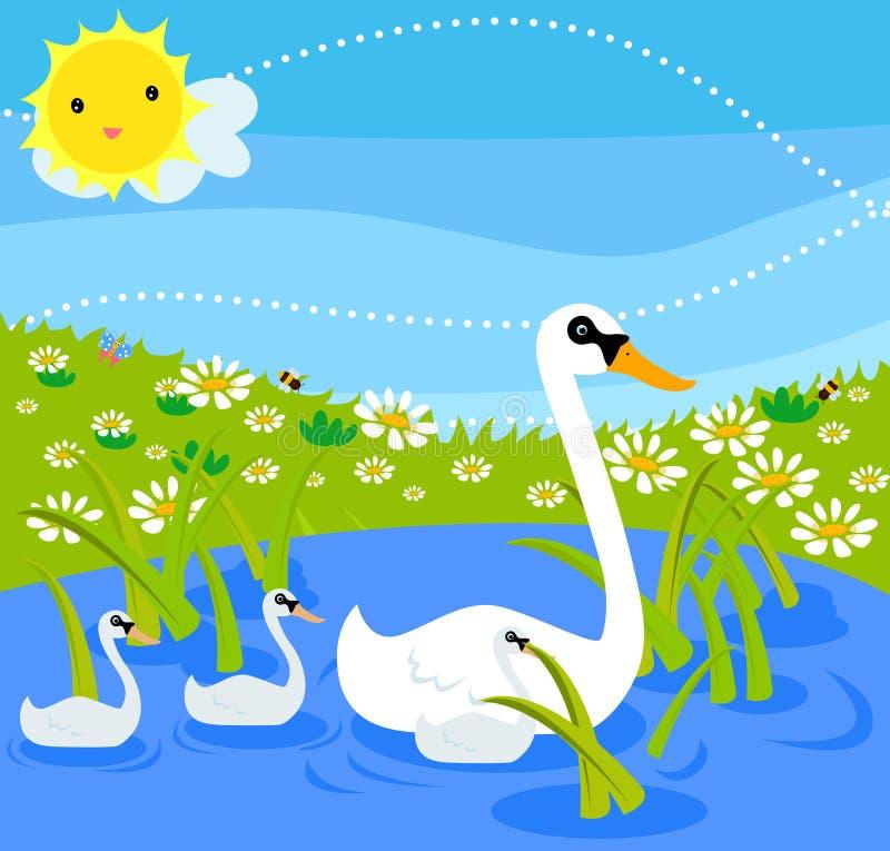 Swan family vector illustration