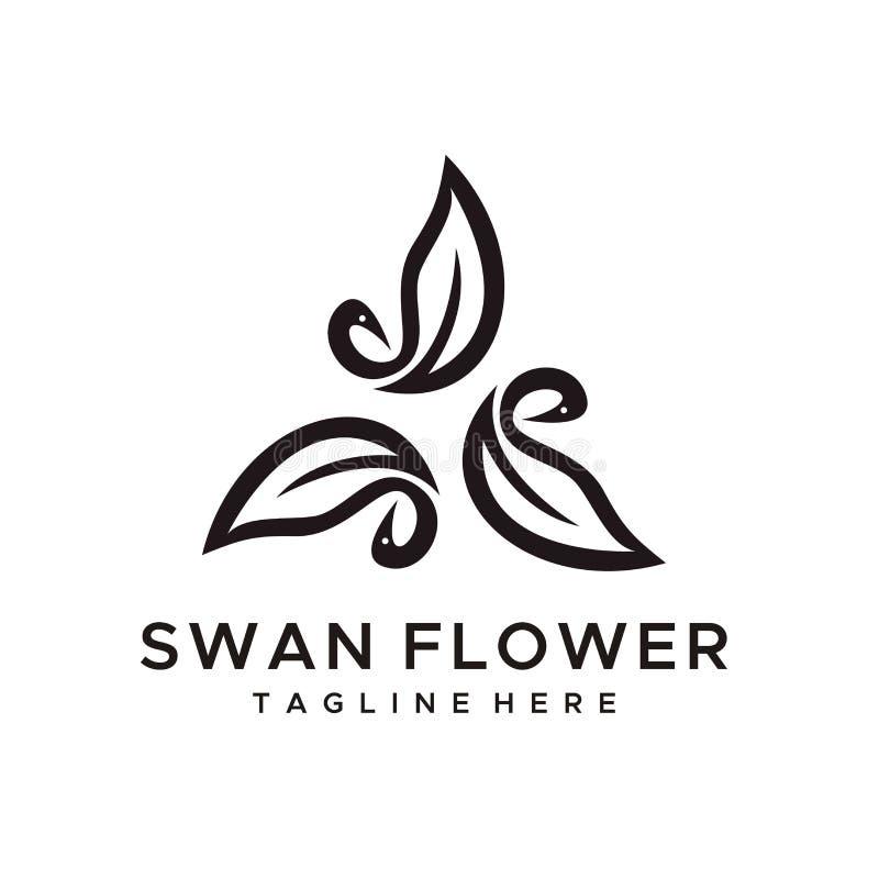 Swan flower logo design vector minimalist style stock illustration