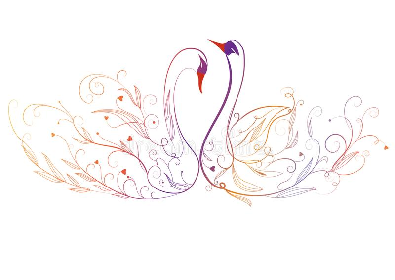 Swan and flower stock illustration
