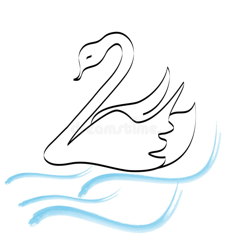 Free Swan Hand Drawing Logo Vector Royalty Free Stock Photo - 24253975