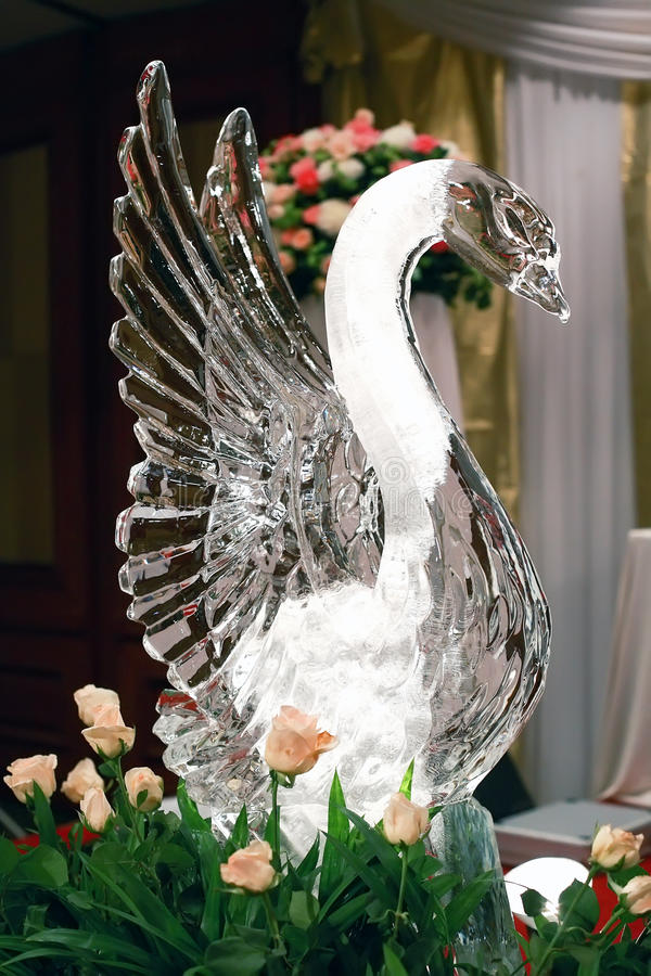 Swan ice sculpture royalty free stock photos