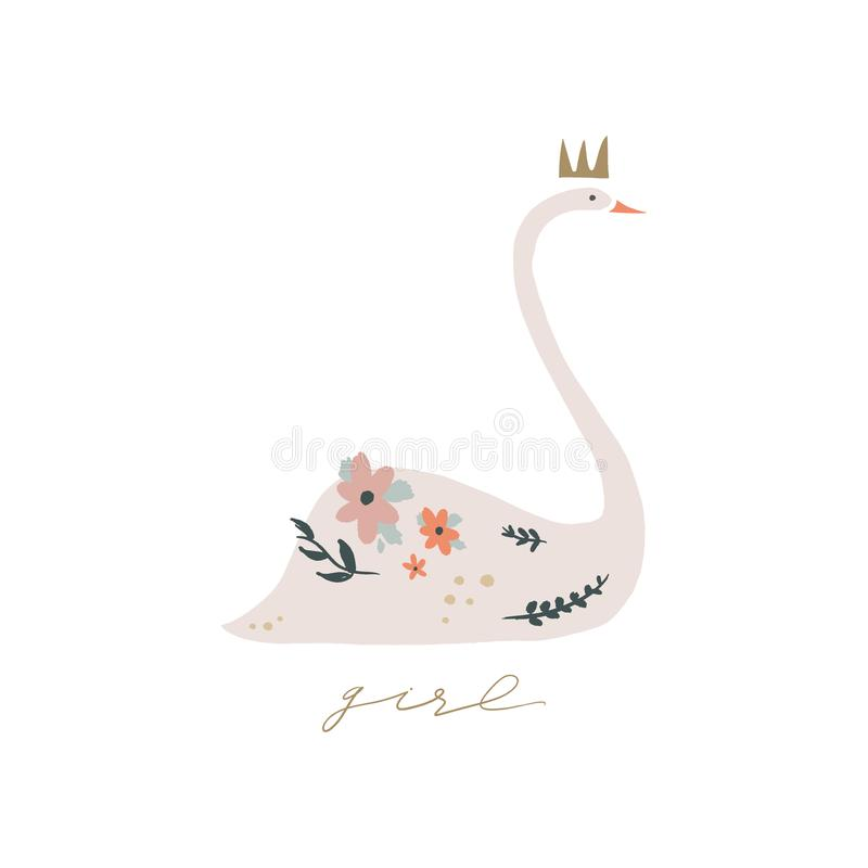 Swan lake. Lettering calligraphy. Girl princess, greeting card poster and postcard, vector image royalty free illustration