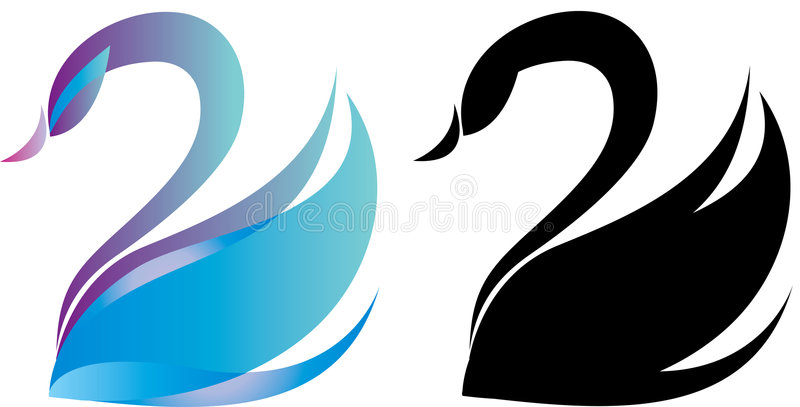 Swan logo. Colorful swan logo and black silhouette
