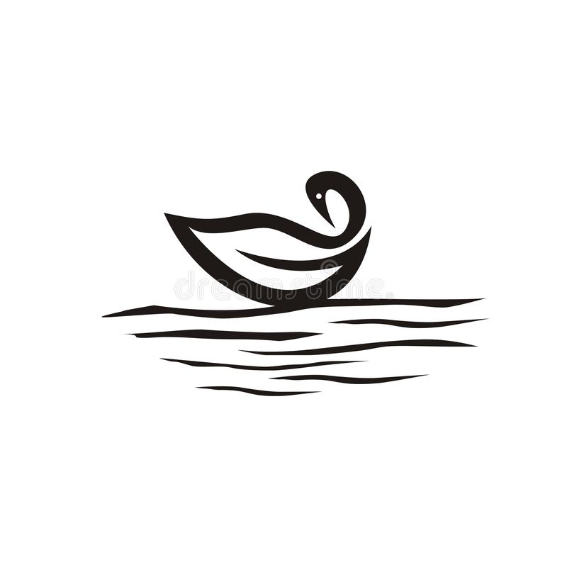 Swan logo design in the lake royalty free illustration