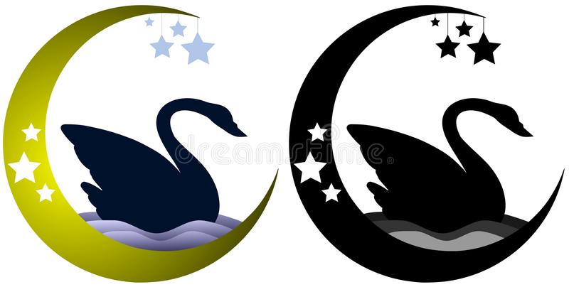 Set Swan with moon isolated vector illustration