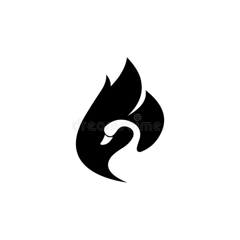 Swan negative space black stock illustration