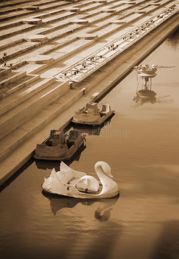 Download Swan pedal boats stock image. Image of background, playtime - 27850173