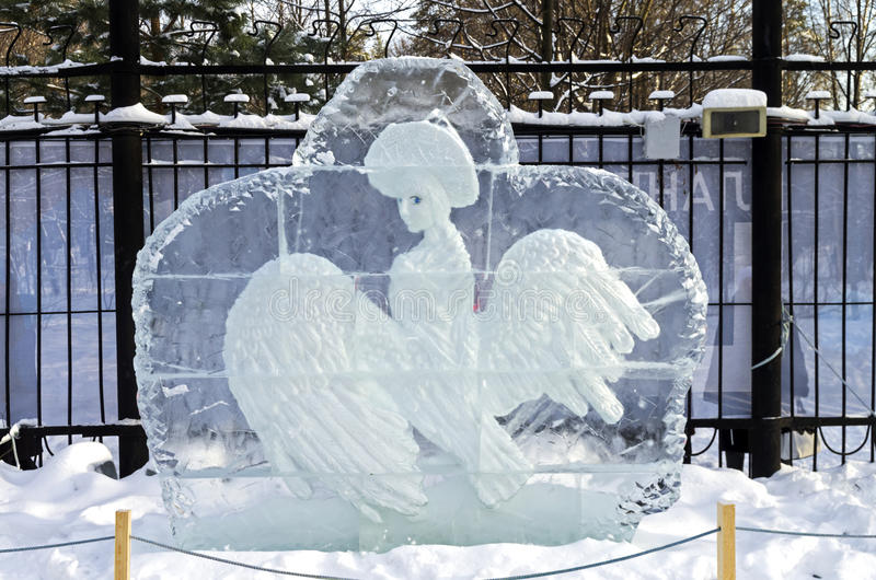 The Swan Princess at the exhibition of ice sculptures royalty free illustration