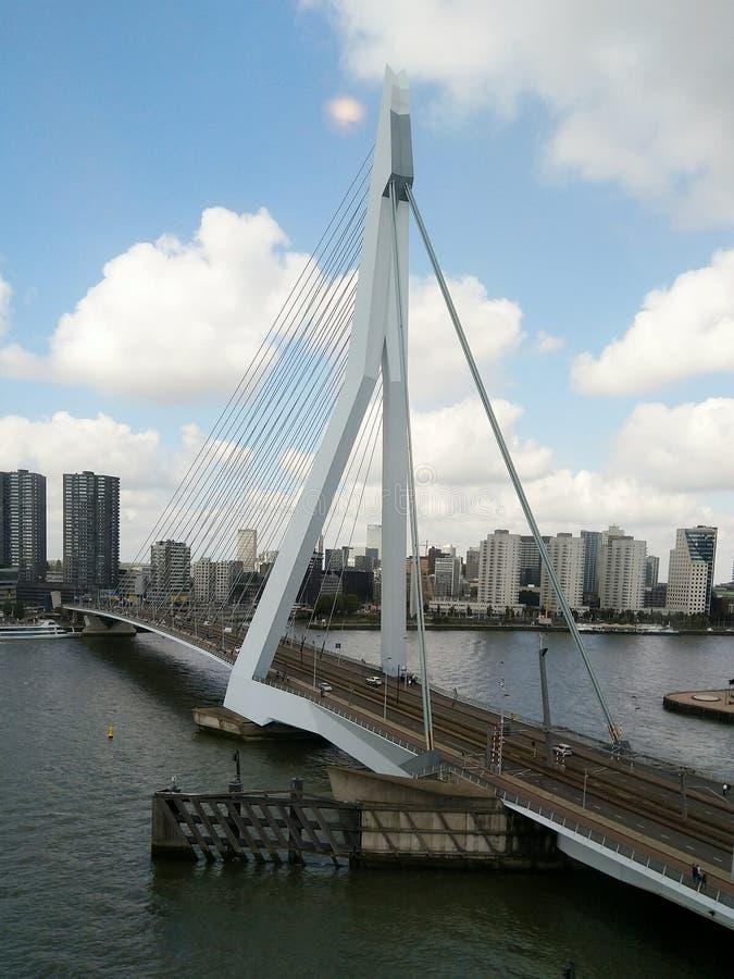 The Swan Rotterdam Erasmus brug. Clouds, bridge, eurovision, songfestival, 2020, city contest de zwaan Dutch Netherlands stock photo