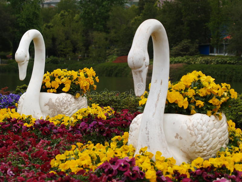 Swan sculpture royalty free stock photography